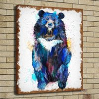 Wholesale asian wall panels - HD Print Poster Oil Painting Wall Art Painting Asian Moon Black Bear Watercolor Wildlife Animal Picture on Canvas Illustration Home Decor