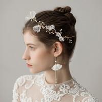 pedaços de cabelo de casamento venda por atacado-Nova Chegada Brinco Colar Nupcial Da Coroa Romântico Quente Duas Peças de Pérolas Flor Do Casamento nupcial Jóias Set Vestido acessórios de cabelo
