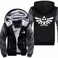 zelda link cosplay disfraces al por mayor-Alta calidad The Legend Of Zelda Link hombres espesar con capucha mujer Anime Zipper Coat Jacket Coat sudadera Cosplay Plus