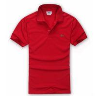 logolar iş toptan satış-Yüksek kaliteli klasik marka timsah logosu Polo 2018 Nwe Erkekler Iş Rahat katı erkek polo gömlek Kısa Kollu nefes polos