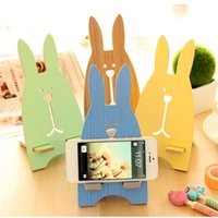 Wholesale cute cell phone stands - Cute Cartoon Rabbit Wooden Universal Phone Holder Stand Cell Phone Mount Holder For IPhone For Samsung Smartphone