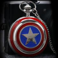 Wholesale captain watches for sale - Group buy Hot Sale Style Captain American Star Shield Quartz Pocket Watch for Men Women Gift
