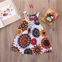 Wholesale Casual Dreses - INs Summer Sunflower Baby girls Dresses Girls Infant Cotton Sleeveless princess Dress Summer baby dress Printed Embroided dreses 2-8 years B