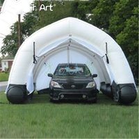 Wholesale tunnel tube online - Ecnomic inflatable garage tent tunnel marquee car cover work shop booth with removable ZIPPER curtains and strong base tube for sale