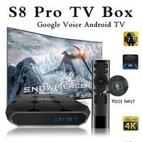 google tv boxes venda por atacado-Original s8 pro google controle de voz android 7.1 caixa de tv 2018 recém-chegados s905w smart tv streaming de caixa de sistema