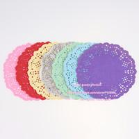 """Wholesale white paper doilies - 100pcs 5.5""""=13.97cm White Round Lace Paper Doilies   Doyleys,Vintage Coasters   Placemat Craft Wedding Table Decor #3-38"""