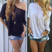 Wholesale Women Chiffon Shirt Loose - Hot Sexy Women Summer Chiffon Shirts Sheer Tops Casual Batwing Short Sleeve Loose Cotton T Shirt