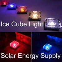 cubo led inalámbrico al por mayor-Luces decorativas Cubo de hielo LED energía solar luces solares subterráneas DHL envío gratis flash cubo de hielo sensor de iluminación tipo inalámbrico