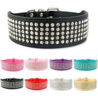 Wholesale Wholesale Wide Leather Dog Collar - 5 Rows Full Diamante Rhinestone Leather Dog Collars Pet Products 8 Colors 2inch Wide