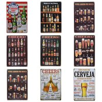 Wholesale printed spray bottles - Beer Cup Cheer Design Tin Poster Retro Style Tins Sign Wine Bottle Iron Painting For Bar And Night Club Exaggerated Atmosphere 20*30cm Z
