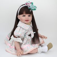 Wholesale Baby Girl Face - Soft Silicone Reborn Baby Girls Dolls For Toddlers Long Haired Doll Kawaii Baby Face For Birthday Decorations