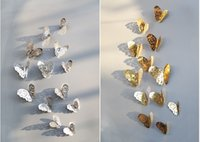 Wholesale American Art Glass - 3D Hollow Butterfly Wall Sticker mirror wall stickers Home Decor DIY silver butterfly Carved bedroom Removable 12pcs set Stickers in stock