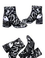 weiße chunky ferse stiefeletten großhandel-Schwarz Wildleder Weiß Graffiti Frauen Zipper Boots Chunky Heels Frühling Herbst Leder Ankle Booties Fashion Prints Schuhe Martin Booties