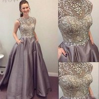 Wholesale Sweet Pink Chiffon Lace Jewel - 2017 Modest Prom Dresses Sparkly Beaded Crystal Formal Long Evening Celebrity Wears with Pockets Custom Made Sweet 16 Pageant Party Gowns