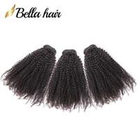 tejido peruano de 18 pulgadas al por mayor-Bella Hair® Brazilian Hair 9A Afro Kinky Curly 10-24 inch Indian Hair Bundles Malasia Camboya Peruana Cabello Virginal Teje Envío Gratis