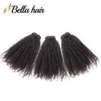 cambodian kıvırcık saç paketleri toptan satış-Bella Hair® Brezilyalı Saç 9A Afro Kinky Kıvırcık 10-24 inç Hint Saç Demetleri Malezya Kamboçyalı Perulu Bakire Saç Ücretsiz Nakliye Örgüleri