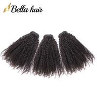 pelo indio virgen 24 pulgadas al por mayor-Bella Hair® Pelo Brasileño 9A Afro Kinky Curly 10-24 pulgadas Indian Hair Bundles Malasia Camboyana Peruvian Virgin Hair teje el envío gratis
