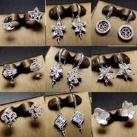 Wholesale Shining Zircon Pearl Earrings Settings Silver Stud Earrings Settings Long Tassel Earrings Suitable mm DIY Jewelry Wedding Gift