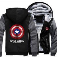 Wholesale Captains Coat - 2018 New USA SIZE Men Winter Autumn Hoodies CAPTAIN AMERICA THE FIRST AVENGER pattern Fleece Coat Baseball Uniform Sportswear Jacket wool