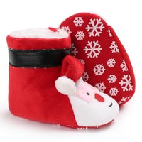 bebek giyim terliği toptan satış-Bebek Erkek Kız Noel Sant Patik Terlik Sıcak Kürk Kar Botları Toddler Beşik Ayakkabı Üzerinde Çekin