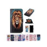 titular de la caja de la tarjeta de la flor al por mayor-Lion Tiger Flower Wallet Flip Card Estuche de cuero para iPhone X XS Max 8 7 6 6S Plus Samsung S6 S7 S8 S9 Plus A3 A5 A7 J3 J5 J7