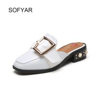 Wholesale Bonded Leather Belts - Half the slippers sexy ladies shoes lazy flip flop covered toe open heel slides spring summer base med black white Belt buckle