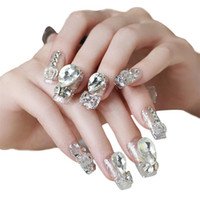 ingrosso incollare diamanti-MENOW 2018 Recentemente 20pcs / Box Unghie Manicure Set Serie Diamond Nail Patch 20 Compresse Nail Pasta 07.07