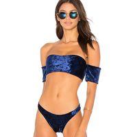 Wholesale hot sexy girls blue swimwear for sale - Women s Summer Swimwear Bikini Female Split Sexy Hot Bikini Girl Velvet Push Up Swimsuit S M L XL