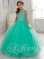 Wholesale Dress Jade Color - Bright Jade Green Tulle Jewel Beads Flower Girl Dresses Princess Dresses Girl's Pageant Dresses Custom Made Size 2-6 8 10 12 14 KF314009