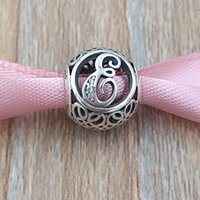 j collar al por mayor-A a J LETRAS 925 Sterling Silver Beads Vintage Charm adapta europeo Pandora Style Jewelry pulseras collar 791845CZ