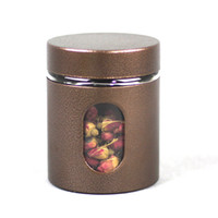Wholesale round nuts - Tin Box with Glass Window Stainless Steel Round Screw Window Canister Coffee Sugar Nuts Jar Storage Glass Bottles Bins