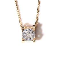 муассанит желтое золото оптовых-Королева блеск реальный 18K 750 желтое золото удивительные 1 ct F цвет лаборатории выросли Moissanite Алмазный кулон ожерелье для женщин