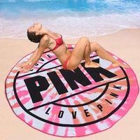 Wholesale green picnic - Pink Microfiber Round Beach Towel 160cm Soft Quick Drying Swimming Bath Sports Towels Picnic Blanket Mat