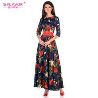 c6e39a3831 russian style dresses 2019 - S.FLAVOR Vestido de impresión de las mujeres  de la