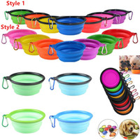 Wholesale cat watering for sale - Group buy Silicone Folding dog bowl Expandable Cup Dish for Pet Cat Food Water Feeding Portable Travel Bowl portable water bowl with Carabiner