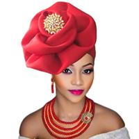 casquettes de perles roses achat en gros de-Gélatine nigériane 2018 avec perles déjà fabriquée auto hele turban casquette africaine ebi gele aso cravate avec perles