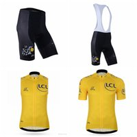 Wholesale tour france vests - TOUR DE FRANCE Cycling Short Sleeves jersey (bib) shorts Sleeveless Vest sets Hot Quick Dry Bike Apparel ropa ciclismo Gel Pad A41849