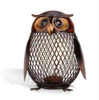 piggy bank tasarruf kutusu toptan satış-Kumbara Baykuş Şekilli Heykelcik Kumbara Para Kutusu Metal Para Kutusu Tasarrufu Kutusu Ev Dekorasyon El Sanatları Hediye Çocuklar Için