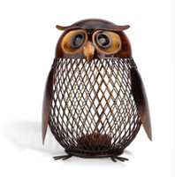 Wholesale savings bank coin resale online - Piggy Bank Owl Shaped Figurine Piggy Bank Money Box Metal Coin Box Saving Box Home Decoration Crafts Gift For Kids
