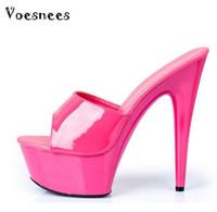 Wholesale transparent pvc red high heels - 2017 High Quality Shoes Woman High-heeled 15cm Slides,Transparent Bottom 11 Color,Thin Heels ,Platforms Model Catwalk Shoes