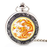 китайские часы оптовых-Vintage Fashion China Dragon Mechanical Pocket Watch for Men Silver Hand Winding Watches Mens Womens Box Bag Hour Clock