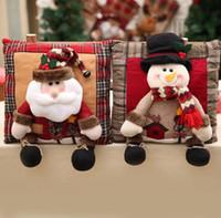 Wholesale santa claus bedding christmas resale online - Christmas Linen cartoon Pillow Cushion Santa Claus Snowman Christmas Decorations Pillows New Year Gift Pillows Home Decorative FFA1207