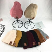 Wholesale knit skull cap for girls resale online - 9 color Parent child Hat Warmer knitted Winter Vertical Bars Baby Caps For Boys Girls Children s Winter Best Gifts KKA5782