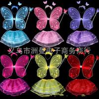 волшебные палочки оптовых-Дети производительность костюм опора бабочка Крыло ангела оголовье юбка палочка набор для детей сказочная принцесса костюм 7 3zm BB