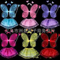 princesa de hadas mariposa al por mayor-Disfraz de traje de rendimiento para niños Butterfly Butterfly Wing Headband Skirt Wand Set para niños Fairy Princess Suit 7 3zm BB