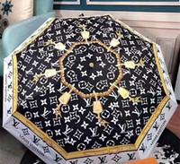 diseños de cajas de regalo de lujo al por mayor-Brand Design Letter Umbrella Women Men luxury Classic Prited Camellia Umbrella 3 Fold Luxury LOGO Umbrella Windproof con caja de regalo