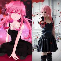 anime futuro diário venda por atacado-Futuro Diário Gasai Yuno Ligado Couro Deslizamento Vestido Uniforme Outfit Trajes Cosplay