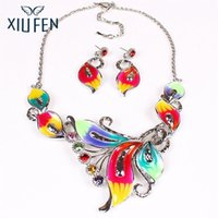 Wholesale Fancy Necklace Sets - XIUFEN Women Fancy Colorful Jewelry Set Exotic Multi-Colored Enamel Flower Leaves Shape Bib Choker Necklace Earring Set ZK30
