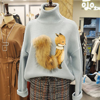 ingrosso maglione harajuku maglione-Moda coreana Animal Print donne allentate maglione lavorato a maglia inverno Harajuku manica lunga collo alto maglioni donna pullover maglioni D'735