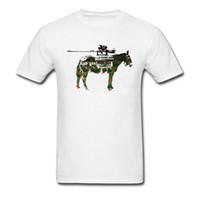 karikatür kıç toptan satış-Slim Fit Beyaz T-shirt Bad Ass Tankları Funky Tees Gömlek Karikatür Adam Için Askeri At Baskı Tops
